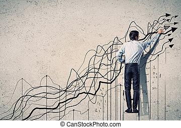 forretningsmand, affattelseen, grafik