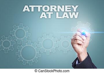 forretningsmand, affattelseen, på, virtuelle, screen., advokat, hos, lov, begreb
