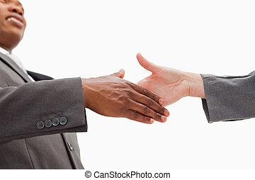 forretningsmand, afrejse, hånd ryst