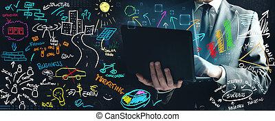 forretningsmand, arbejde på, nye ideer