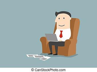 forretningsmand, arbejder, computer, laptop
