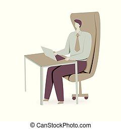 forretningsmand, arbejder, hans, laptop