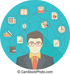 forretningsmand, begreb, moderne