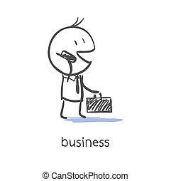 forretningsmand, benævne, telefon