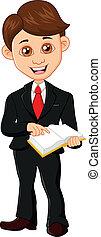 forretningsmand, bog, holde
