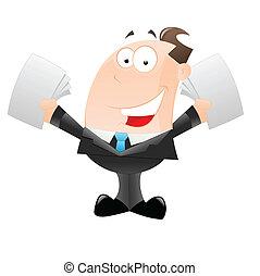 forretningsmand, cartoon, glade