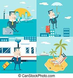 forretningsmand, cartoon, karakter, rejse, tog, skib, flyvemaskine, bevægelig branche, markedsføring, urban himmel, baggrund, moderne, lejlighed, konstruktion, vektor, illustration