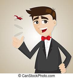 forretningsmand, chippen, kasino, cartoon
