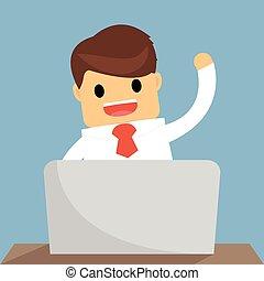 forretningsmand, computer, arbejder, glade