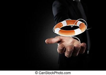 forretningsmand, den der, greb, en, lifebelt., begreb, i, forsikring, og, hjælp, ind, din, firma