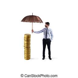 forretningsmand, det beskytte, hans, penge, besparelserne, hos, umbrella., begreb, i, forsikring, og, penge, beskyttelse