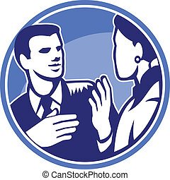 forretningsmand, diskussion, arbejder, kontor, woodcut