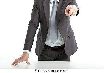 forretningsmand, du, pege, hånd