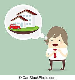 forretningsmand, er, glade, drøm, luksus, hus, og, automobilen, begreb branche