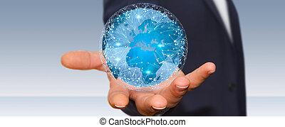 forretningsmand, forbinde, forskellige, steder, i, verdenen