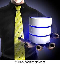 forretningsmand, forsyn, en, database