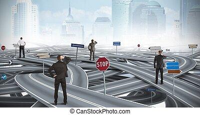 forretningsmand, forvirr, vej