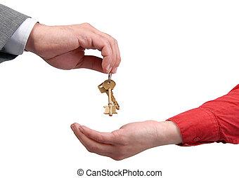 forretningsmand, giver, en, nøgle, til, en, kvinde, hånd