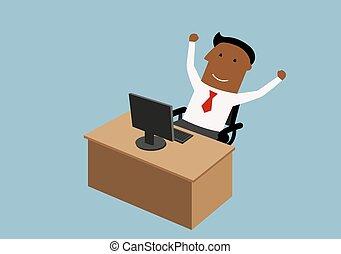 forretningsmand, glade, kontor, arbejder, cartoon