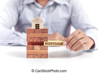 forretningsmand, greb, glose, hypotek, på, opgave, hos, af træ, hjem, model