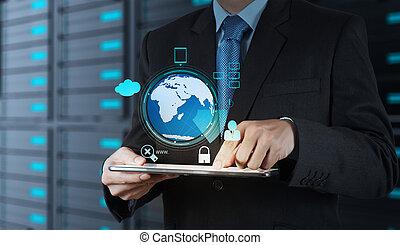 forretningsmand, hånd, arbejder, hos, 3, klode, hos, sky, computing, diagram, på, den, ny computer, grænseflade, idet, begreb, garanti