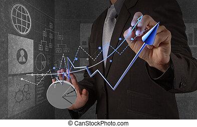 forretningsmand, hånd, arbejder, hos, nye, moderne, computer, og, strategi branche, idet, begreb