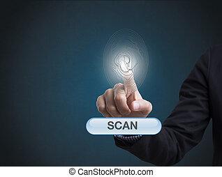 forretningsmand, hånd, fingeraftryk, afsøge, skaffer, security adgang, company.