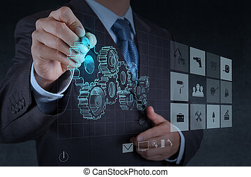 forretningsmand, hånd, hæver, indgreb, til, held
