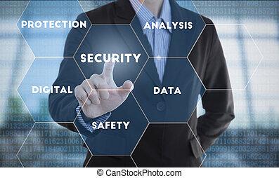forretningsmand, hånd, presning knap, security., tegn, på, virtuelle, screen., firma, sikkerhed, concept.
