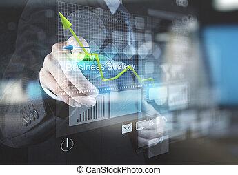 forretningsmand, hånd, punkter, til, strategi branche