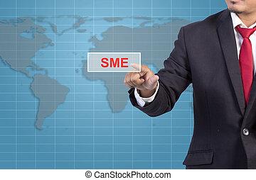 forretningsmand, hånd, røre, sme, tegn, på, virtuelle, skærm, -, begreb branche