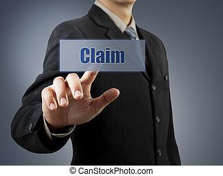 forretningsmand, hånd, skubbe, claim, knap