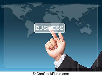 forretningsmand, hånd, skubbe, firma, knap, på, en, berøring skærm, grænseflade