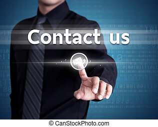 forretningsmand, hånd, skubbe, kontakt os