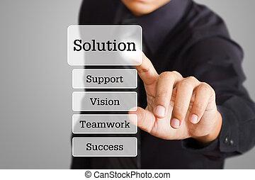 forretningsmand, hånd, skubbe, løsning, knap, på, en, berøring skærm, grænseflade