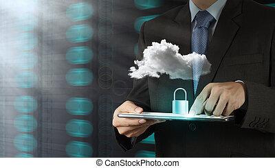 forretningsmand, hånd, viser, 3, hængelås, på, berøring skærm, computer, idet