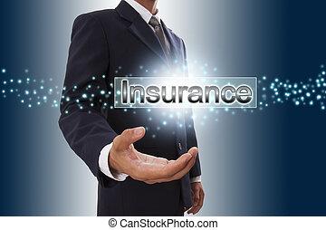 forretningsmand, hånd, viser, forsikring, knap, på, virtuelle, screen.