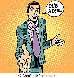 forretningsmand, håndslag deal, kontrakt, mand