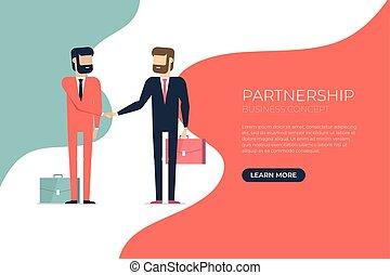 forretningsmand, håndslag, kompagniskab, concept.