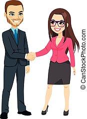 forretningsmand, hænder ryste, businesswoman