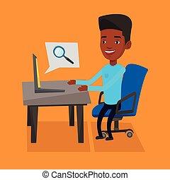 forretningsmand, hans, laptop., arbejder