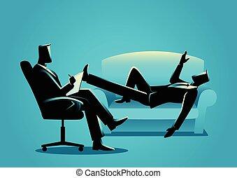 forretningsmand, har, en, terapi, hos, psykolog