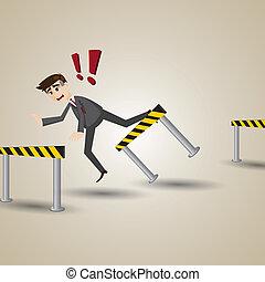 forretningsmand, hindring, cartoon