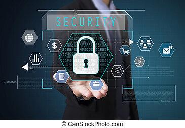 forretningsmand, hold ræk, security., tegn, på, virtuelle, screen., firma, sikkerhed, concept.