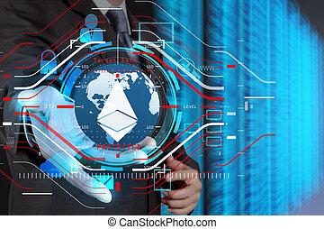 forretningsmand, hold ræk, sky, netværk, ikon, på, berøring skærm, computer, idet, security internet, online, begreb branche