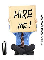 forretningsmand, holde, den, tekst, hire, mig