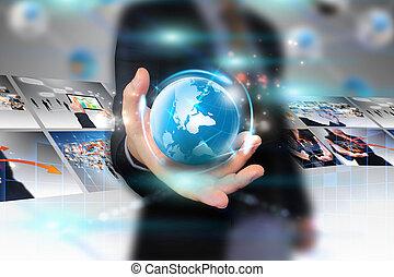 forretningsmand, holde, firma, verden