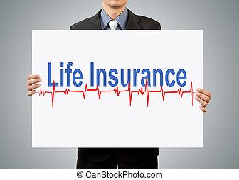 forretningsmand, holde, forsikring liv, begreb