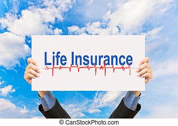 forretningsmand, holde, forsikring liv, begreb, og blå, himmel