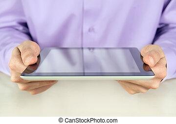 forretningsmand, holde, pc. tablet